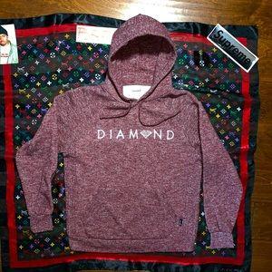 diamond supply hoodie heather maroon white logo